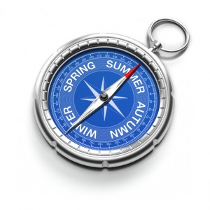 3D renders of an old compass with different texts